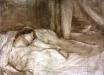 Femme allongée au chat