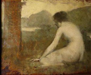 Etude pour Satyre jouant de la flûte à une faunesse, une oeuvre de jeunesse d'Eugène Carrière